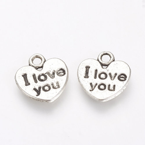 10 Pieces Charm Love Antique Silver 11mm Nickel Free
