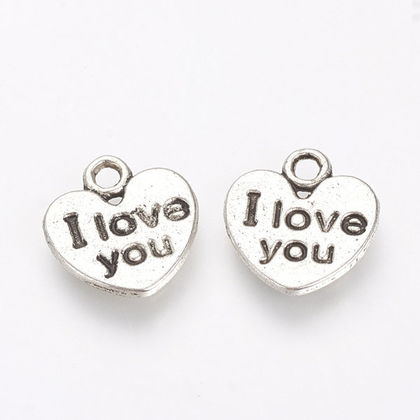Charm I Love You Silver 11mm Nickel Free, 10 pieces