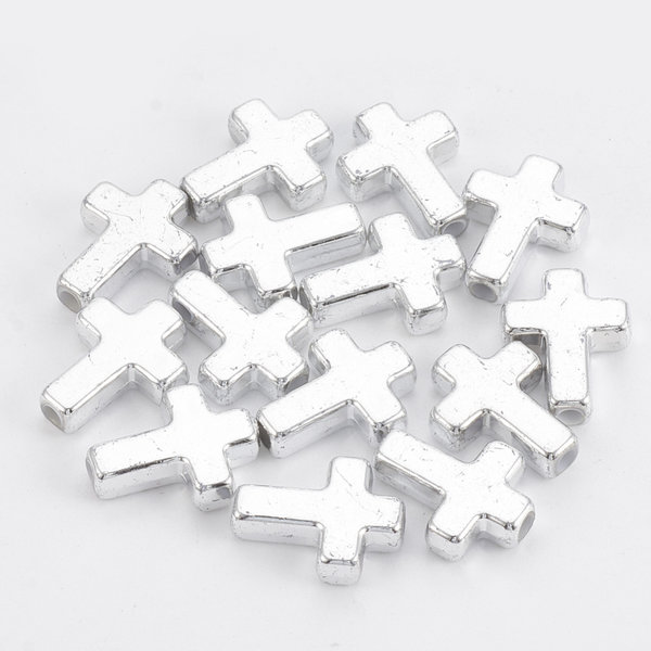 Metal Look  Acrylic Beads Cross Silver Plated 15x12mm, 10 pieces