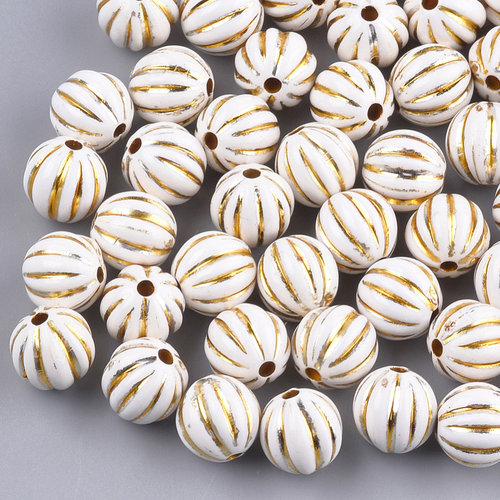20 Pieces Vintage Acryl Beads Gold White 9.5x10mm