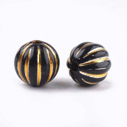20 Pieces Vintage Acryl Beads Gold Black 9.5x10mm