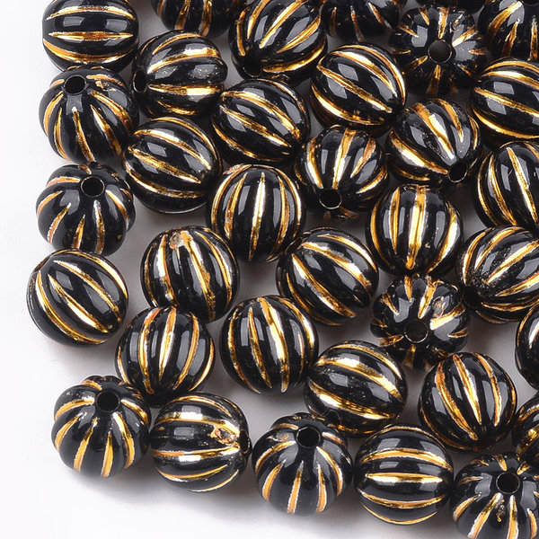 Vintage Acryl Beads Round Gold Black 9.5x10mm, 20 pieces