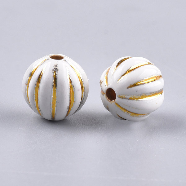 Vintage Acryl Beads Round Gold White 9.5x10mm, 20 pieces