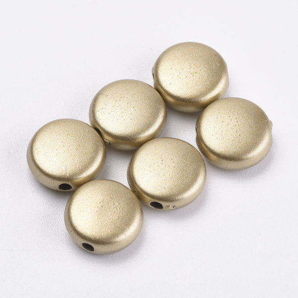 Vintage Acryl Beads Disc Gold Stardust 9mm, 25 Pieces
