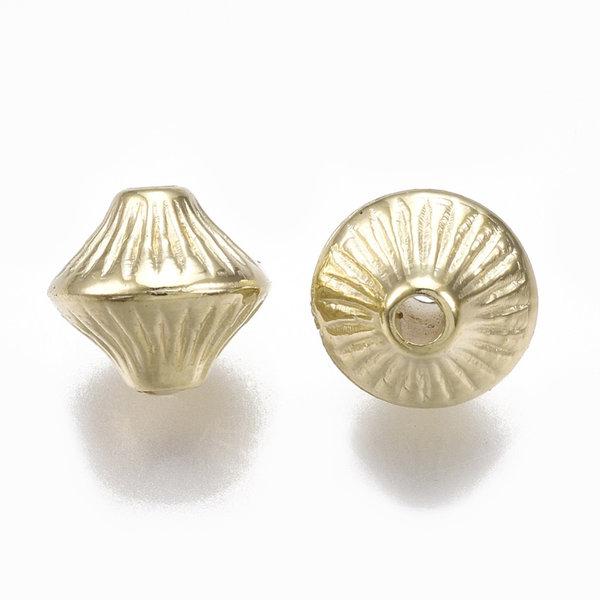 Metal Look Acrylic Beads Bicone Golden 7x6mm, 25 pieces