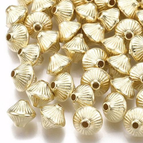 25 Pieces Metal Look Beads Bicone Golden 7x6mm