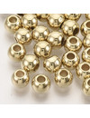 Metal Look Acrylic Beads Round Golden 6.5x5.5mm, 50 pieces