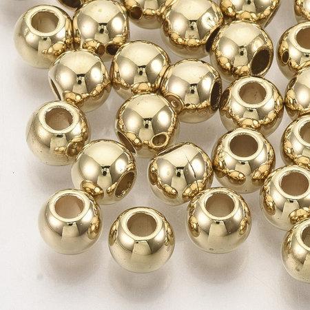 50 Pieces Metal Look Beads Round Golden 6.5x5.5mm