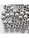Metal Look Acryl Kralen Rond Zilver 6.5x5.5mm, 50 stuks