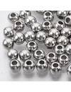 Metal Look Acrylic Beads Round Silver 6.5x5.5mm, 50 pieces