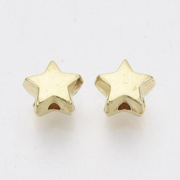 Metal Look Acrylic Beads Star Golden 6mm, 25 pieces