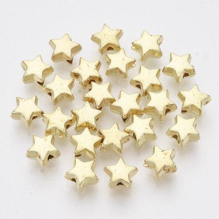 25 Pieces Metal Look Beads Star Golden 6mm