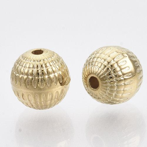 20 Pieces Metal Look Beads Round Light Golden 8mm