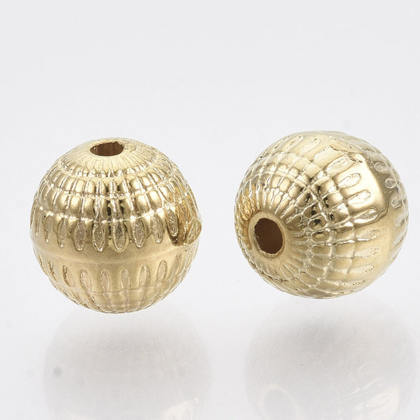 Metal Look Acrylic Beads Round Golden 8mm, 20 pieces