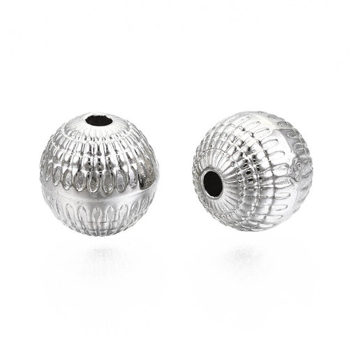 20 Pieces Metal Look Beads Round Silver 8mm