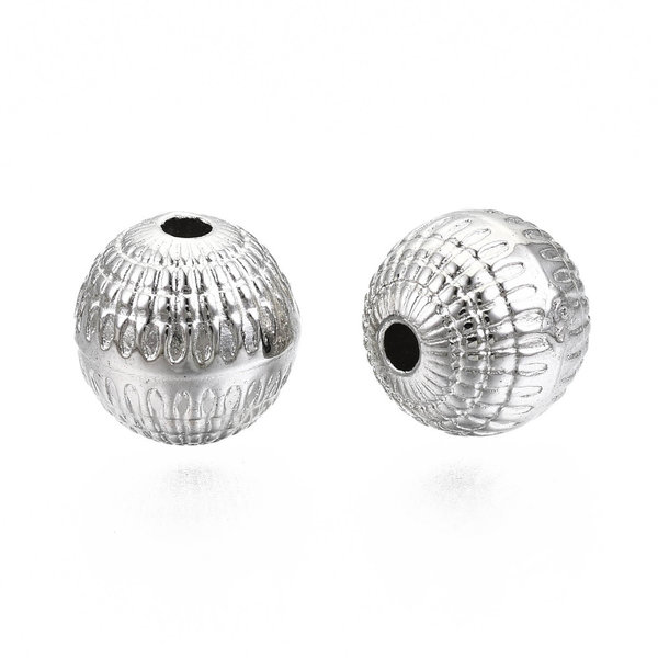 Metal Look Beads Round Silver 8mm, 20 pieces
