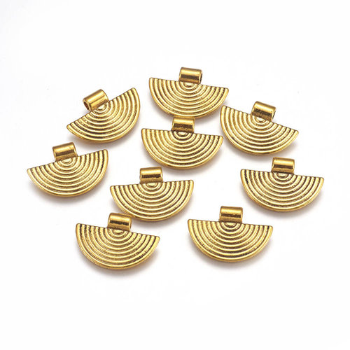 6 Pieces Charm Fan Antique Golden 25x17mm Nickel Free