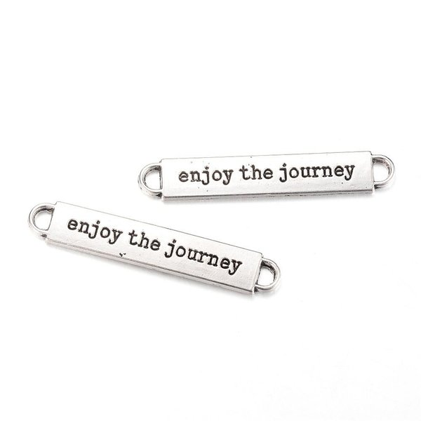 Connector Enjoy The Journey Antique Silver 50x8.5mm Nickel Free, 5 pieces