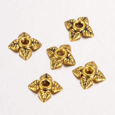 50 Pieces Bead Cap Antique Golden 6mm Nickel Free