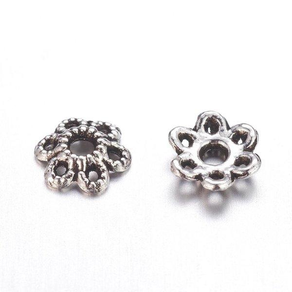 Bead Cap Flower Antique Silver 6mm Nickel Free, 50 pieces