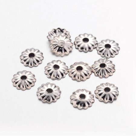 100 Pieces Bead Cap Silver Nickel Free 5mm