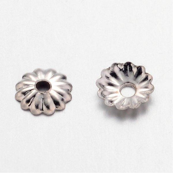100 stuks Bead Cap Zilver Nikkelvrij 5mm
