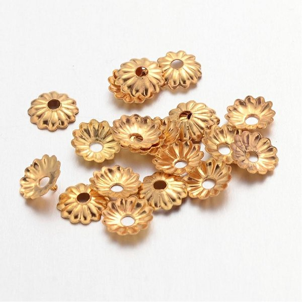 100 Pieces Bead Cap Golden Nickel Free 5mm