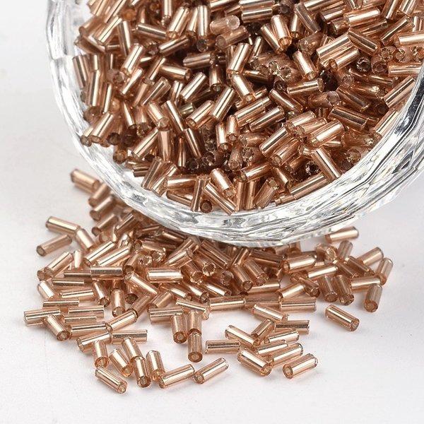10 gram Bugle Beads Camel Shine 4~5x1.5~2mm