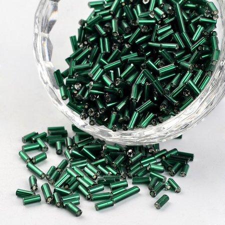 10 grams Bugle Beads Green Shine 4~5x1.5~2mm
