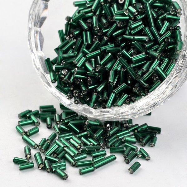 10 gram Bugle Beads Groen Shine 4~5x1.5~2mm
