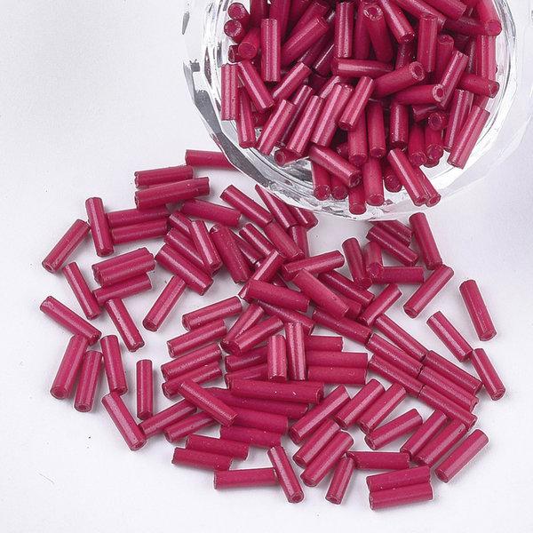 10 gram Bugle Beads Fuchsia 6~7x1.5~2mm