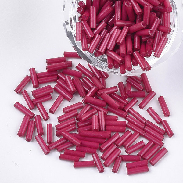 10 grams Bugle Beads Fuchsia 6~7x1.5~2mm