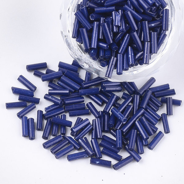 10 gram Bugle Beads Navy 6~7x1.5~2mm