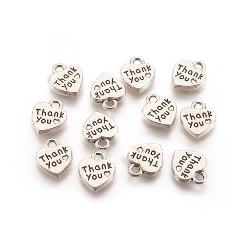 """15 pieces Heart Charm """"Thank you"""" Silver 12x10mm"""
