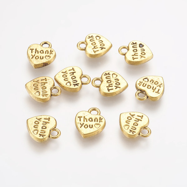"""15 pieces Heart Charm """"Thank you"""" Golden 12x10mm"""