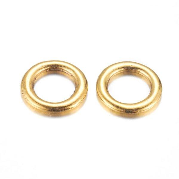 8 pieces Karma Charm Round Golden Nickel Free 15mm