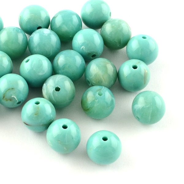 Gemstone Look Acryl Beads Turquoise 8mm, 50 pieces