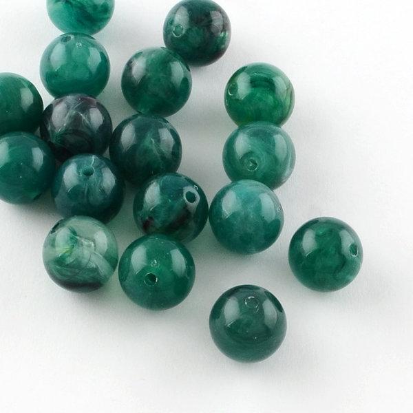 Gemstone Look Acryl Beads Green 8mm, 50 pieces