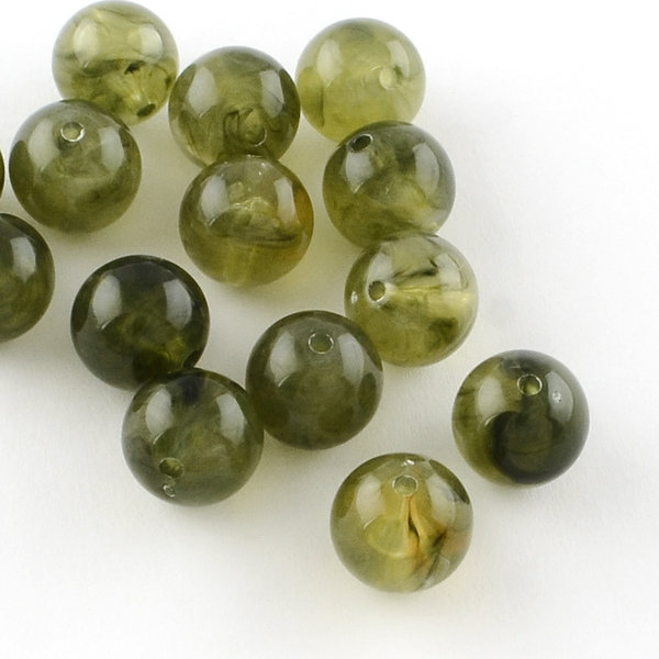 Gemstone Look Acryl Beads Olive Green 8mm, 50 pieces