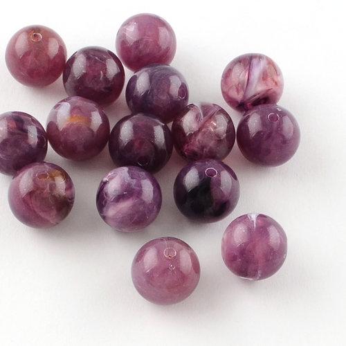 50 Pieces Gemstone Look Acryl Beads Purple 8mm
