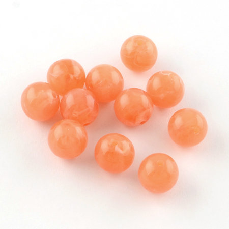 50 Pieces Gemstone Look Acryl Beads Orange 8mm