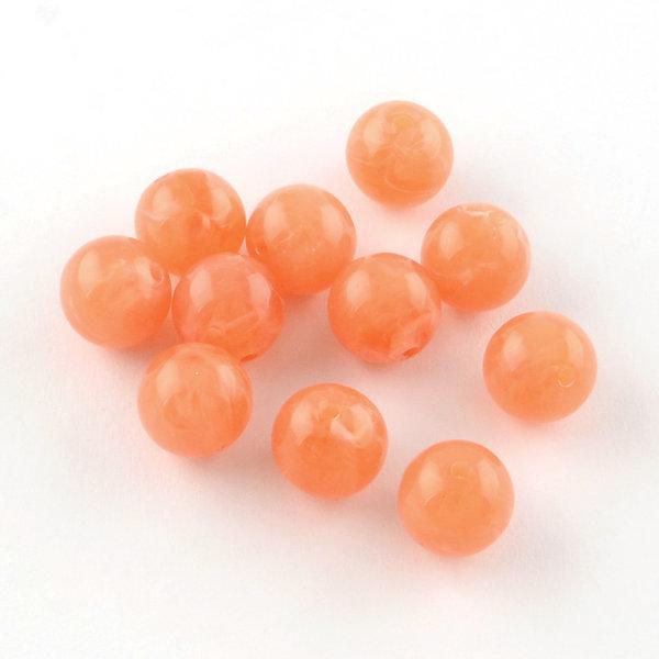 Gemstone Look Acryl Beads Round Orange 8mm, 50 pieces