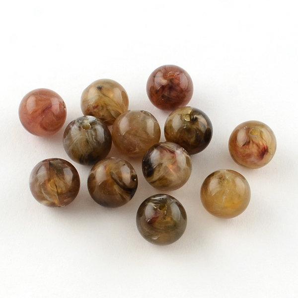 Gemstone Look Acryl Beads Round Brown 8mm, 50 pieces