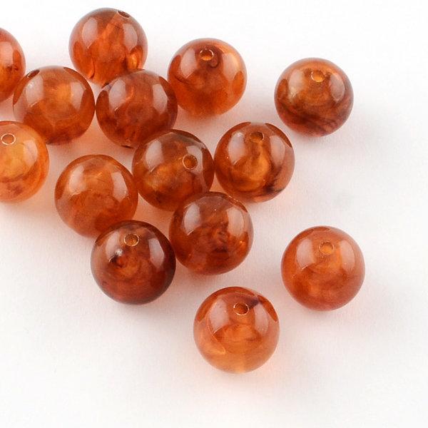 Gemstone Look Acryl Beads Round Amber 8mm, 50 piece