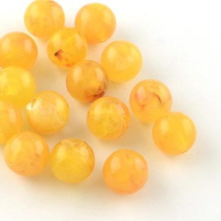 50 Pieces Gemstone Look Acryl Beads Ocre 8mm