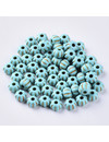 50 Pieces Vintage Acryl Beads Gold Turquoise 7x5mm