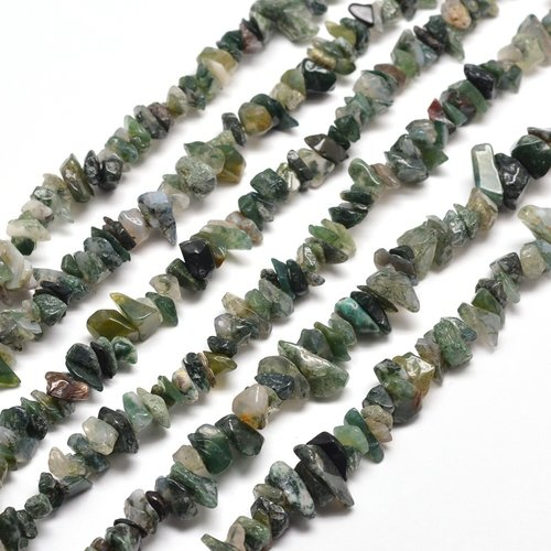 Natural Moss Agate Chips 5x8mm, strand 80cm, 260 pieces