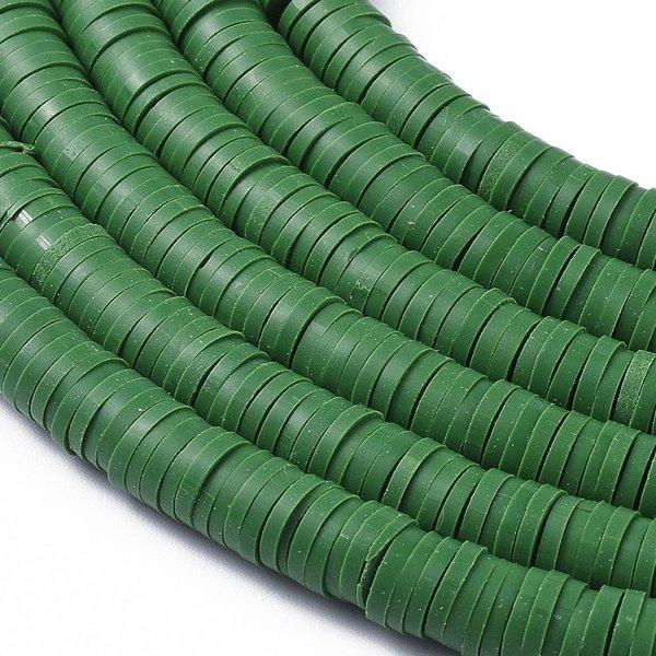 Katsuki Fimo Clay Disc Beads 6mm Green, strand 350 pieces