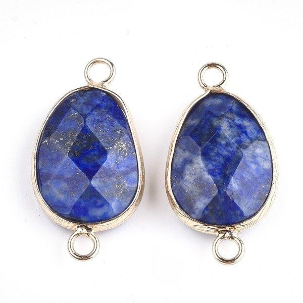 Natural Facet Geslepen Lapis Lazuli  Tussenzetsel 25x13mm Nikkelvrij