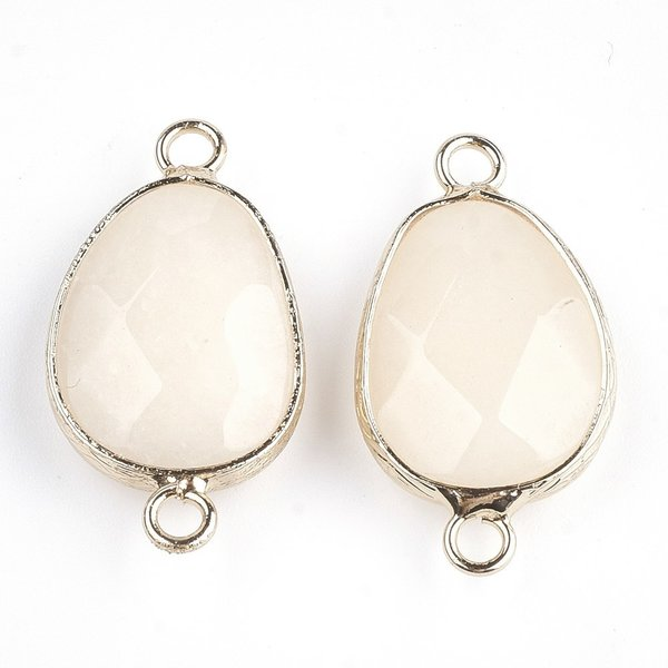 Natural Faceted Off White Jade  Link 25x13mm Nickel Free